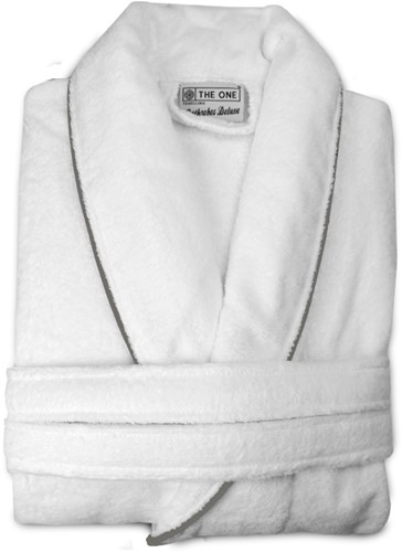 T1-BVELOURW Velour bathrobe piped - White/taupe - 2XL/3XL