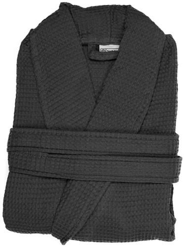 T1-BWAFFLE Waffle bathrobe - Anthracite - L/XL