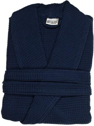T1-BWAFFLE Waffle bathrobe - Navy blue - L/XL