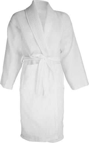 T1-BWAFFLE Waffle bathrobe - White - L/XL