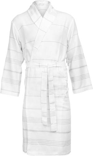 T1-HAMBATH Hamam bathrobe - White/grey - S/M
