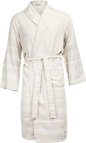T1-HAMBATH Hamam bathrobe - Beige/white - L/XL