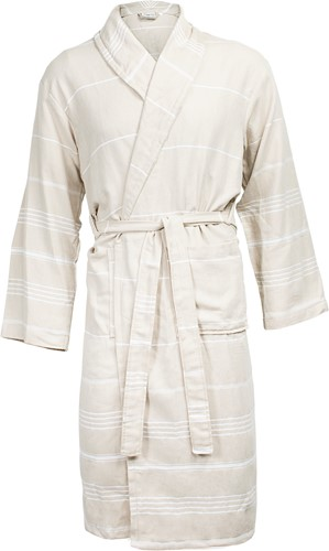 T1-HAMBATH Hamam bathrobe - Beige/white - S/M