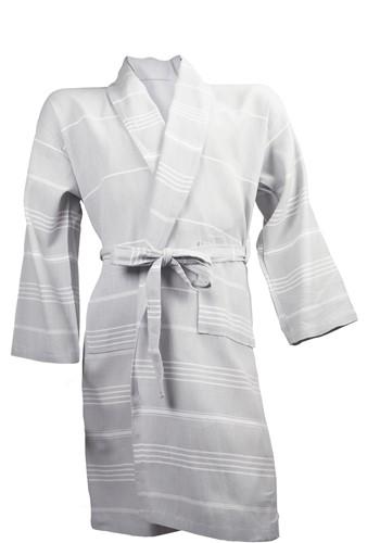 T1-HAMBATH Hamam bathrobe  - Light grey/white - L/XL