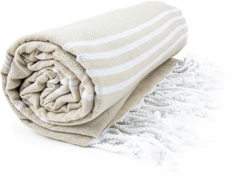 T1-HAMSULTAN Hamam sultan towel - Beige/white - 100 x 180 cm