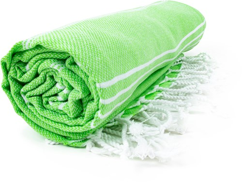 T1-HAMSULTAN Hamam sultan towel - Lime green/white - 100 x 180 cm