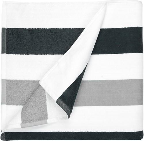 T1-STRIPE Beach towel stripe - Anthracite/light grey - 90 x 190cm