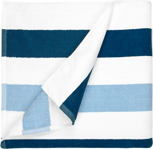 T1-STRIPE Beach towel stripe - Navy blue/light blue - 90 x 190cm