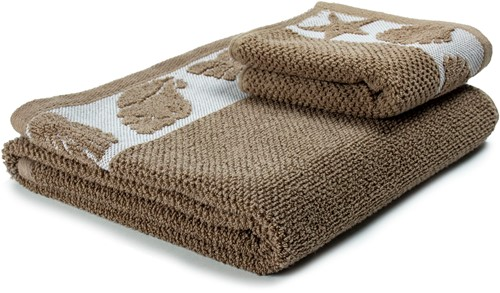 T1-SUMMER60 Exclusive towel set - White/warm taupe