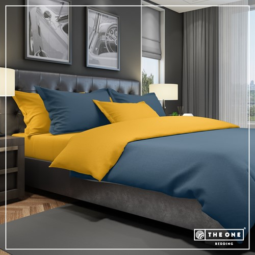 T1-BC140 Bedset Classic - Indigo blue / gold - 140 x 220 cm