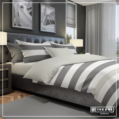 T1-BSTRIPE140 Bedset Stripe - Dark grey / light grey - 140 x 220 cm