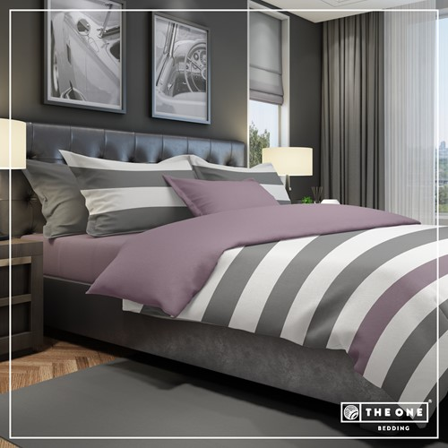 T1-BSTRIPE200 Bedset Stripe - Dark grey / plum - 200 x 220 cm