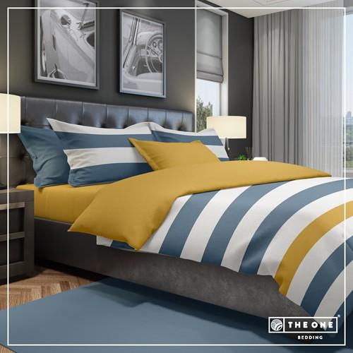 T1-BSTRIPE200 Bedset Stripe - Indigo blue / gold - 200 x 220 cm