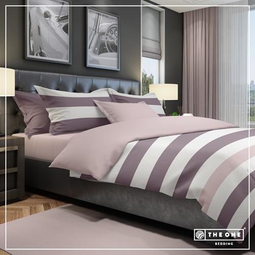 T1-BSTRIPE240 Bedset Stripe - Plum / mauve - 240 x 220 cm