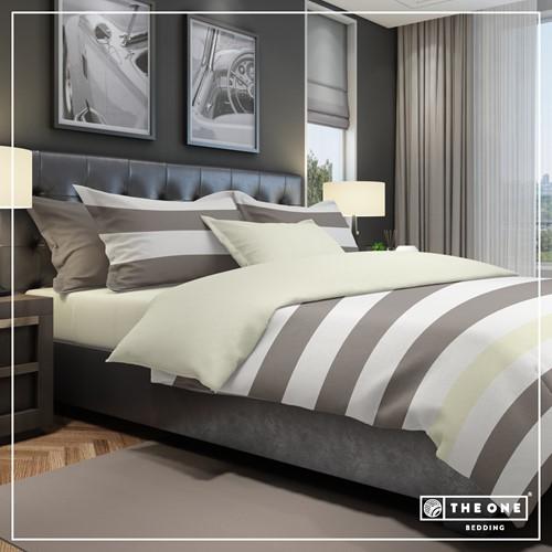 T1-BSTRIPE200 Bedset Stripe - Taupe / cream - 200 x 220 cm